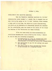 Memorandum from M. C. Nerney to N.A.A.C.P. Executive Committee