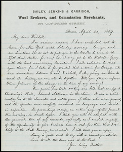 Letter from William Lloyd Garrison, Boston, [Mass.], to Wendell Phillips Garrison, April 21, 1869