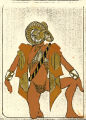 Costume design drawing, male dancer in mask, facing left, Las Vegas, June 5, 1980
