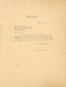 Letter from W. E. B. Du Bois to F. L. Barnett