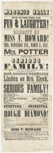 "Advertisement for performance of ""The serious family"""