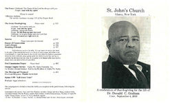 St. John's Church, Ithaca, New York, a celebration of thanksgiving for the life of, Dr. Donald C. Graham, 11 a.m., September 4, 2010