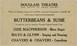 Advertising card for the Douglass Theatre, probably 1925 Jan. 26