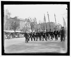 A post from Trenton, N.J., with tattered battle flags