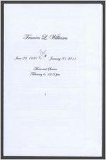 Frances L. Williams, June 22, 1930-January 30, 2011, memorial service, February 6, 12:30 p.m