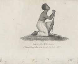 African American female, chained and kneeling \