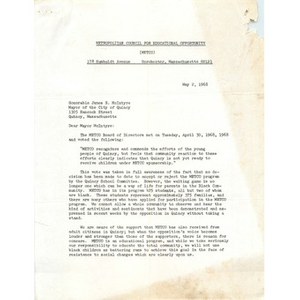 Letter, Mayor James R. McIntyre. May 2, 1968
