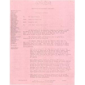 CWEC short term program goals, March 2, 1977