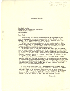 Letter from unidentified correspondent to Afro-American Newspapers