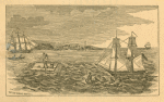 View of fugitive slave Thomas M. Jones, escaping on a raft from the brig ship Bell offshore from New York City