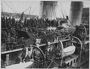 15th Infantry fighters home with War Crosses. French liner La France arrives with 15th Infantry...