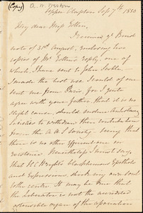 Letter from Isabella Massie, Upper Clapton, [England], to Mary Anne Estlin, 1850 Sep[tember] 7