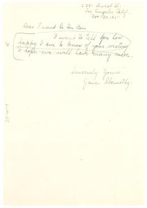 Letter from Jane Abernethy to W. E. B. Du Bois