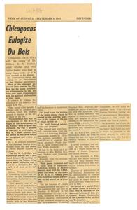 Chicagoans eulogize Du Bois