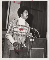 Owusu Sadaukai speaking at a podium