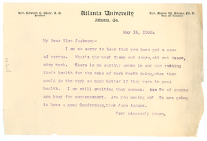 Letter from W. E. B. Du Bois to Miss Jackson