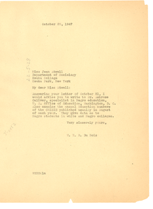 Letter from W. E. B. Du Bois to Jean Atwell