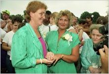 Gene Bowers with her partner Lyn Hall and mother Edna Bowers, participating in a gay-lesbian commitment ceremony, Piedmont Park, Atlanta, Georgia, June 22, 1991