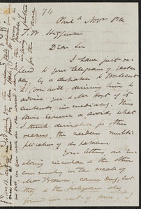 James Miller M'Kim autograph letter signed to Thomas Wentworth Higginson, Phila[delphia], 8 November [1859]
