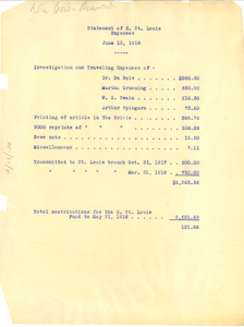 Statement of E. St. Louis Expenses, June 10, 1918