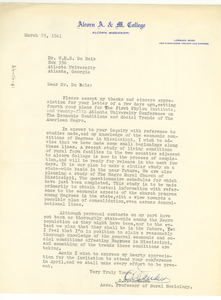 Letter from Alcorn Agricultural and Mechanical College to W. E. B. Du Bois