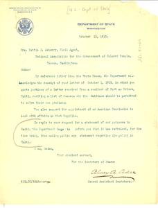 Letter from United States Dept. of State to W. E. B. Du Bois