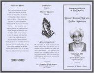Homegoing celebration in loving memory of Bessie Emma McCain Butler Robinson, Friday, July 5, 2002, 1:00 p.m., Antioch Baptist Church, Augusta, Georgia, Reverend K. B. Martin, pastor