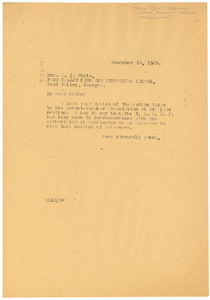 Letter from W. E. B. Du Bois to The Parent-Teacher Association of The Peach County Training School