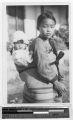 Korean girl carrying a baby on her back, Korea, ca. 1920-1940