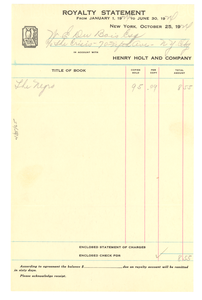 Royalty statement from January 1, 1924 to June 30, 1924