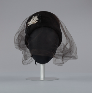 Black felt hat with veil and ivory bead decoration from Mae's Millinery Shop