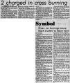 Newspaper article on cross burning in Towanda