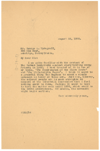 Letter from W. E. B. Du Bois to George A Updegraff