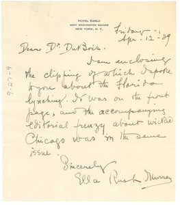 Letter from Ella Rush Murray to W. E. B. Du Bois