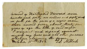 [Receipt to Hartford Howard, October 15 1852]