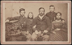 [Two soldiers, John Burton and son with drum, in Union uniforms with wife and younger girl and boy]