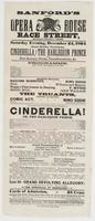 Sanford's new Opera House Race Street, between Second & Third: Saturday evening, December 24, 1864 Grand holiday pantomime, Cinderella, or The harlequin prince with new scenery, tricks, transformations, &c. Programme. ... The truants, ... To conclude with the grand fairy operatic pantomime of Cinderella! or, The harlequin prince. ... Cards of admission, 25 cents Orchestra seats, 50 cts Private boxes, dress circle, $5 Private boxes, family circle, $4 & $3 Office will be open from 9 to 2 o'clock, for the sale of secured seats and boxes, without extra charge. Doors open at quarter before 7 o'clock. To commence quarter before 8 Don't forget Monday afternoon--the great Christmas pantomime at 2 o'clock. Children admitted with their parents at 15 cents each, secure your seats early in the day