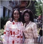 """Coretta Scott King and actress Cicely Tyson on the set of """"King,"""" 1977"""