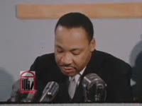 WSB-TV newsfilm clip of a press conference during which Dr. Martin Luther King, Jr. criticizes the Georgia Legislature for not seating Julian Bond in the House of Representatives in Atlanta, Georgia, 1966 January 13