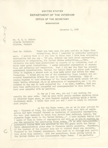 Letter from the U. S. Department of the Interior to W. E. B. Du Bois