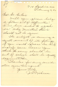 Letter from J. F. Nickens to W. E. B. Du Bois