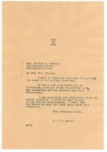 Letter from W. E. B. Du Bois to Delilah L. Beasley