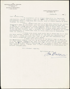 Baldwin, James Mark, 1861-1934 typed letter signed to Hugo Münsterberg, Baltimore, 15 March 1906?
