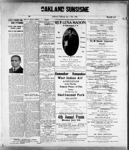 Oakland Sunshine (Oakland, Calif.), Vol. 13, Ed. 1 Saturday, June 19, 1915 Oakland Sunshine