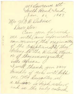 Letter from Jane C. Artis to W. E. B. Du Bois