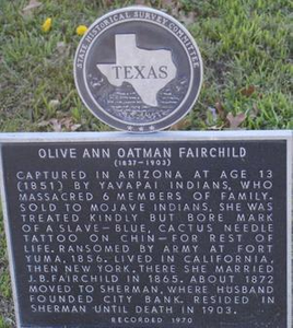 [Texas Historical Commission Marker: Olive Ann Oatman Fairchild]