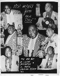 Collage of seven images of disc jockey 'Uncle Tiny' of radio station KSAN