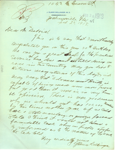 Letter from J. Elmer Dellinger M.D. to W. E. B. Du Bois