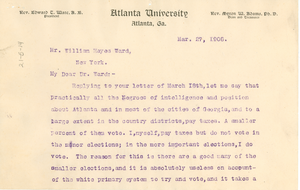 Letter from W. E. B. Du Bois to William Hayes Ward