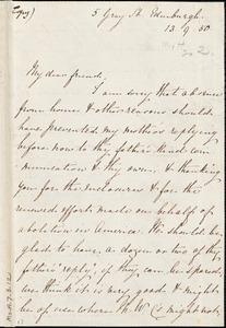 Letter from Eliza Wigham, Edinburgh, [Scotland], to Mary Anne Estlin, 1850 [September] 13